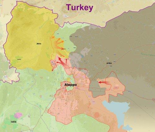In Giallo: (SDF) YPG/YPJ, Jaysh Al Thuwar ; Verde: Forze Ribelli (Al Nusra, FSA, Ahrar ash-Sham, Jund al-Aqsa, Fratelli Musulmani ecc.) Verde: Esercito Siriano. Grigio: ISIS