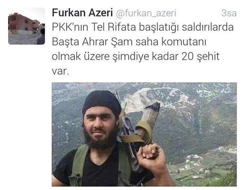 Tweet di un soldato membro del gruppo terrorista Ahrar ar Sham, dove conferma la sconfitta a Tel Rifat e la morte di 20 jihadisti.