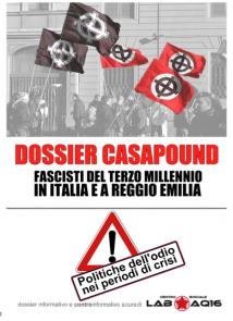 Copertina dossier CasaPound Reggio Emilia